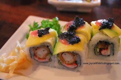 sushi mango avocado fish roe ebi tempura