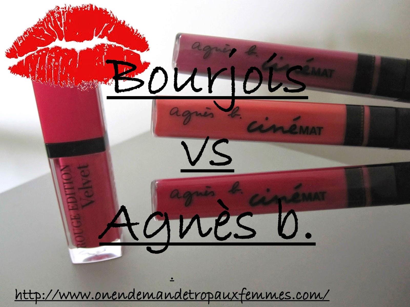 comparatif rouge velvet bourjois et cinemat agnès b