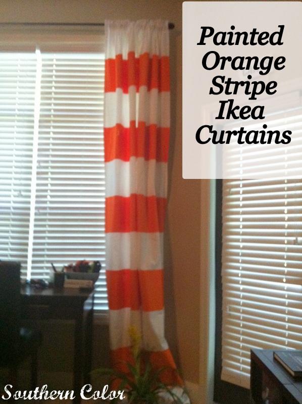 painted orange stripe ikea curtains