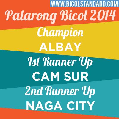 Palarong Bicol 2014 Final Result