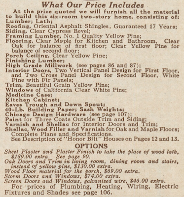 sears house what is included and options