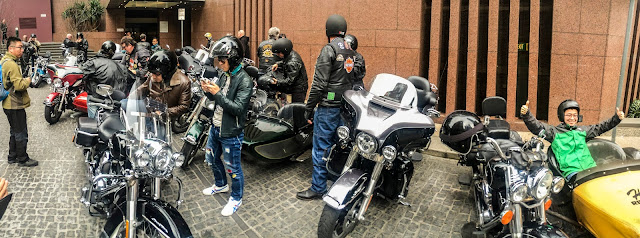 Pick up for Harley Davidson Group ride at Langham Hotel, Melbourne