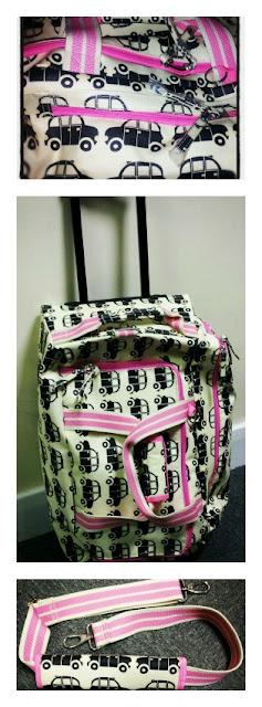 pink lining, wheelie case,