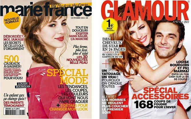 Couverture de Marie-France et de Glamour avec Louise Bourgoin