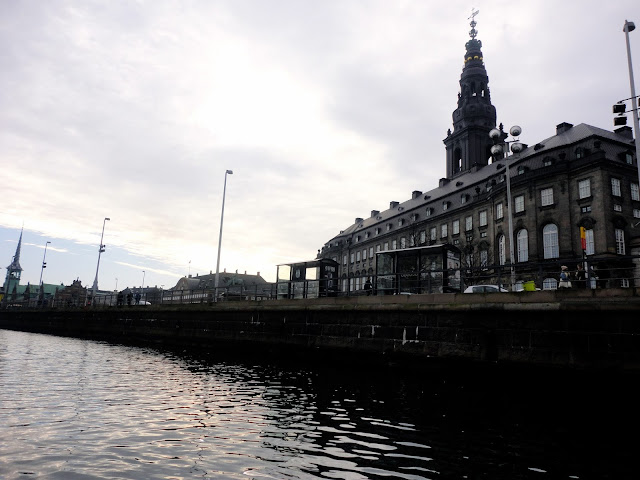 Christiansborg Palace by the water in Copenhagen, Denmark