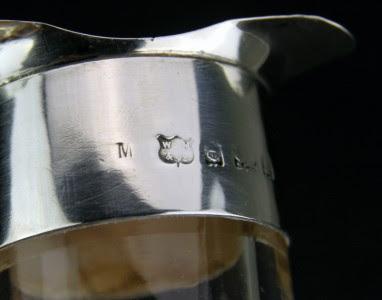 ANTIQUE 20thC EDWARDIAN SOLID SILVER & GLASS WINE DECANTER, BIRMINGHAM c.1903