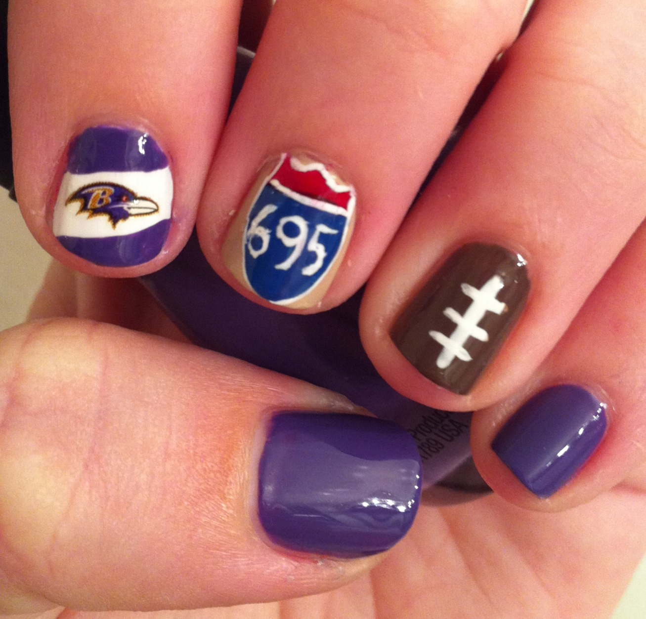 Two Week Nail Polish: Miscellaneous Manicures: Baltimore Ravens Nails