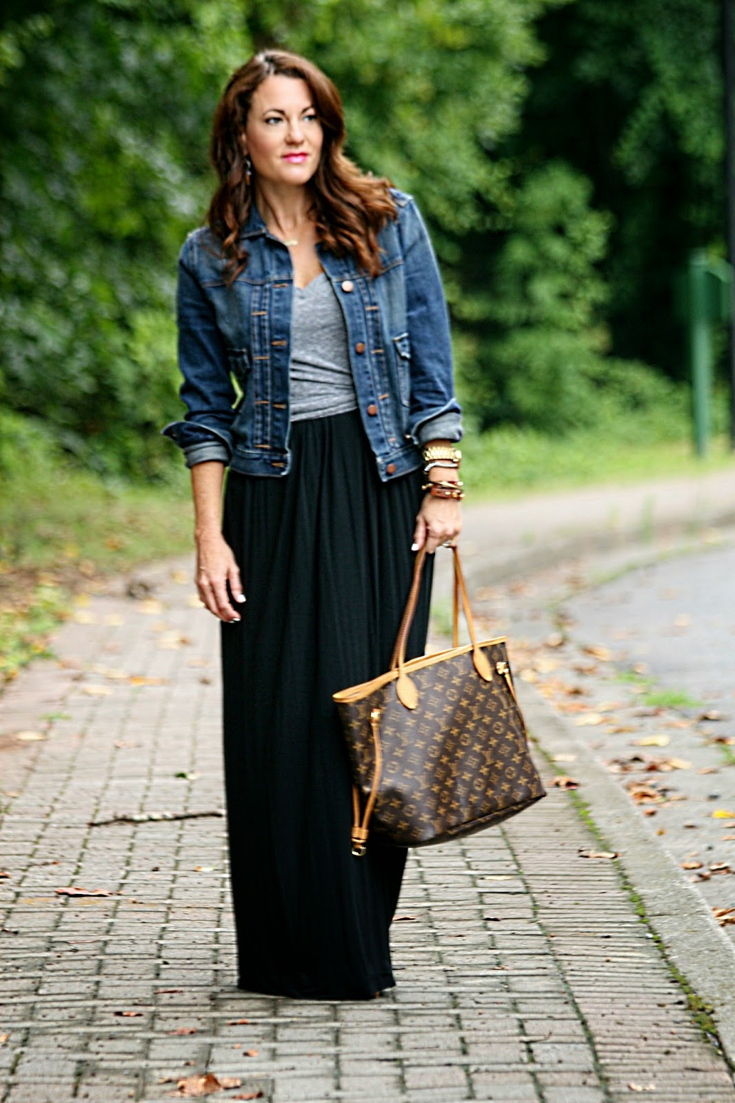 Jean jacket over maxi dress