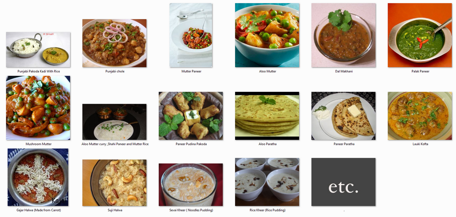 indian food names a to z pdf