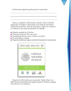 Apoyo Primaria Español 3er grado Bloque 2 lección 4 Práctica social del lenguaje 6, Investigar sobre la historia familiar para compartirla