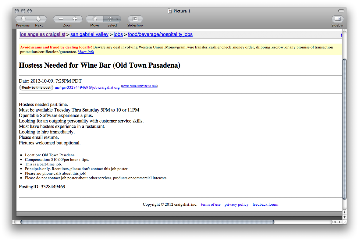 Encantador Craigslist Job Scams Resume Galería - Ejemplo De ...