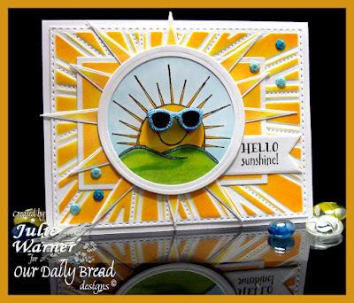 Our Daily Bread Designs Stamp sets:Hello Sunshine, ODBD Custom Dies: Sunburst Background, Circle Ornament, Pennants