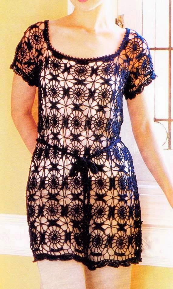 Vestido calado al crochet con patrones