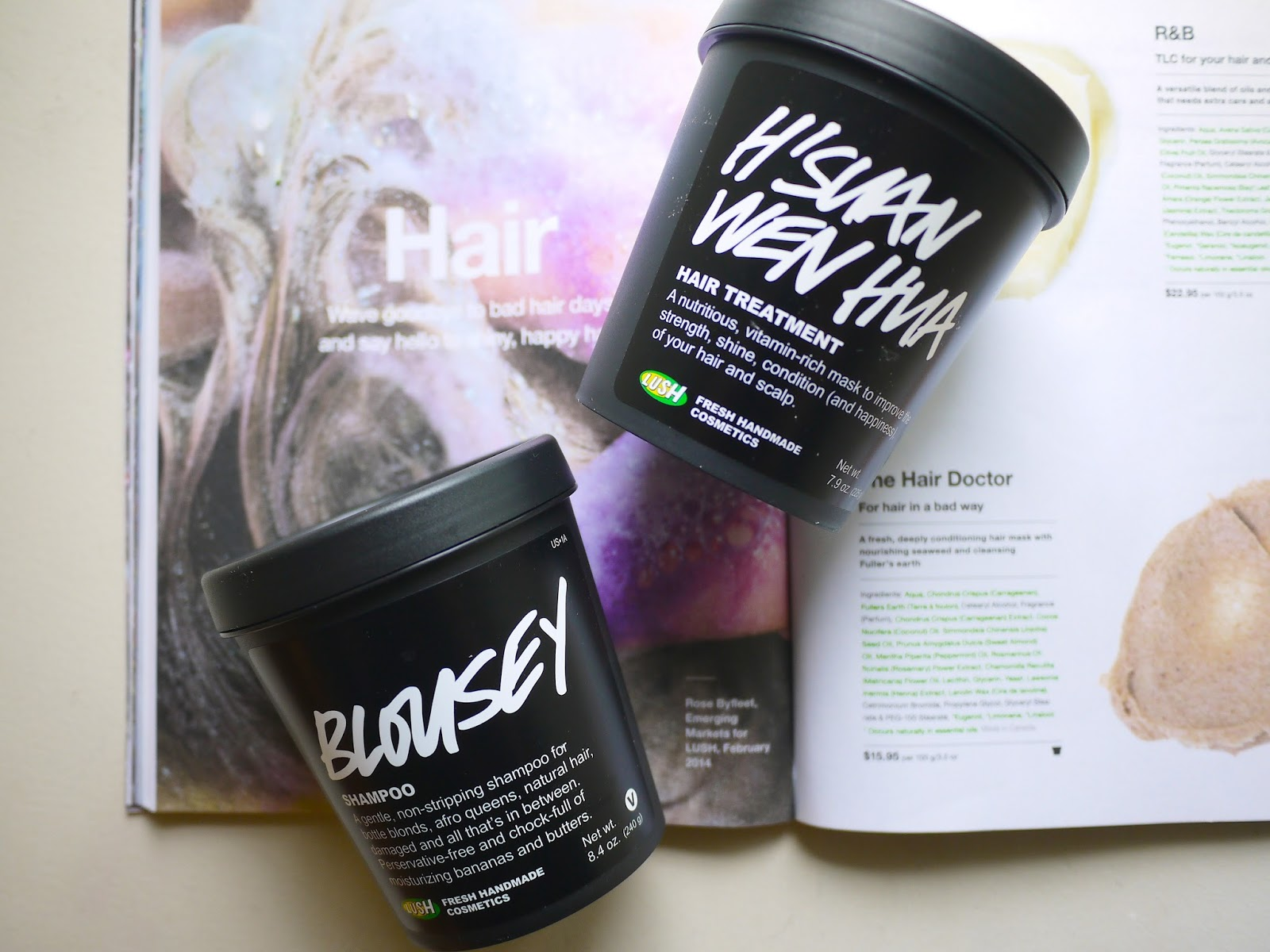 Lush H'suan wen hua hair treatment Blousey shampoo review