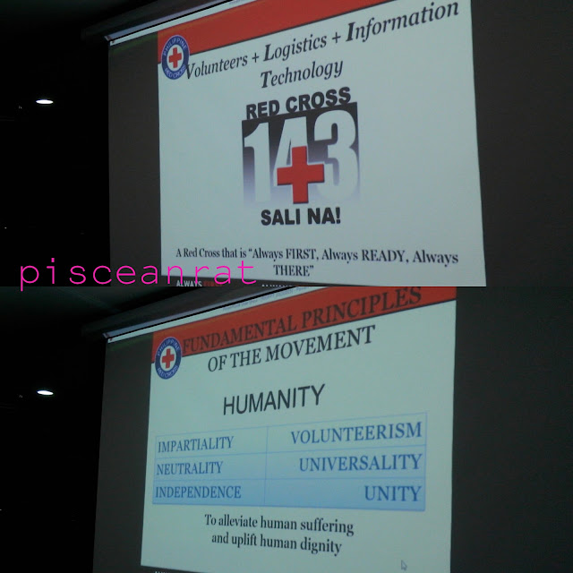 The slogan of Philippine Red Cross (PRC) and Fundamental Principles of the Movement.