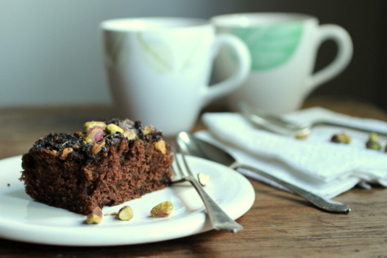 ... chocolate batter. So this chocolatepistachio coffee cake was born