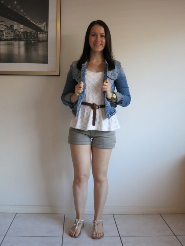 college outfit, university outfit, khaki shorts, cream peplum top, brown belt, sandals, denim jacket, neutral outfit