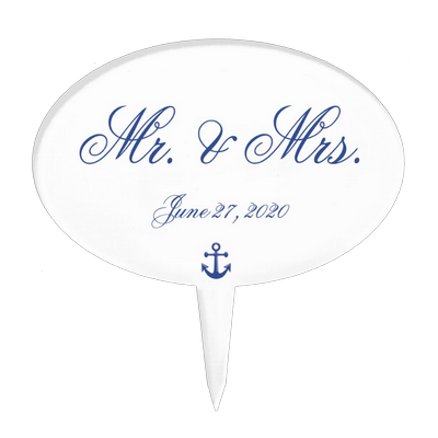 Mr. and Mrs. Nautical Wedding Cake Toppers