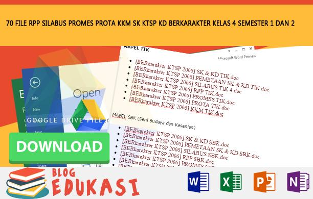 70 File RPP SILABUS PROMES PROTA KKM SK KD KTSP BERKARAKTER KELAS 4 SEMESTER 1 dan 2