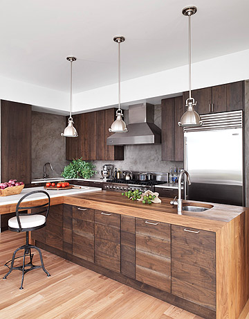 Mix and chic a dark and handsome wood kitchen for Modern wood kitchen cabinets