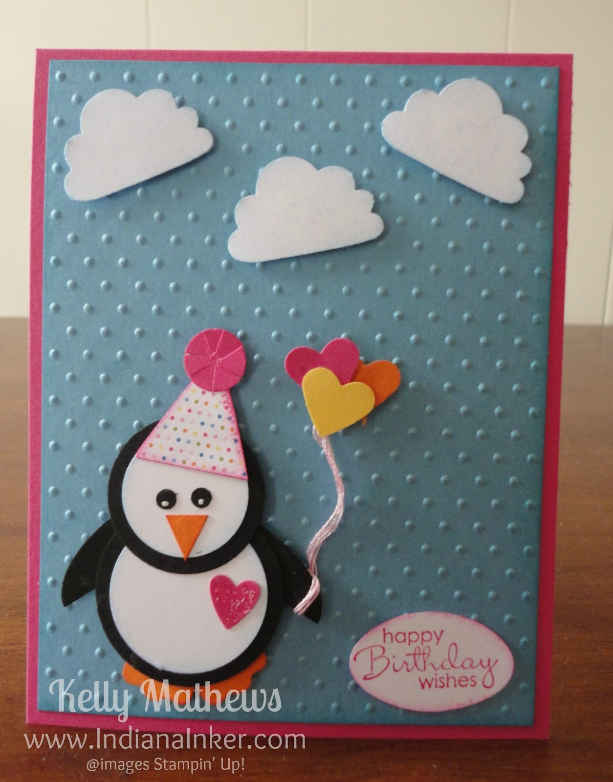 indiana inker penguin birthday card, Birthday card