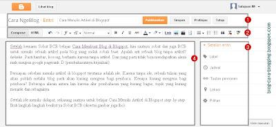 Cara Menulis Artikel di Blogspot, Tampilan Teks Editor Blogspot.