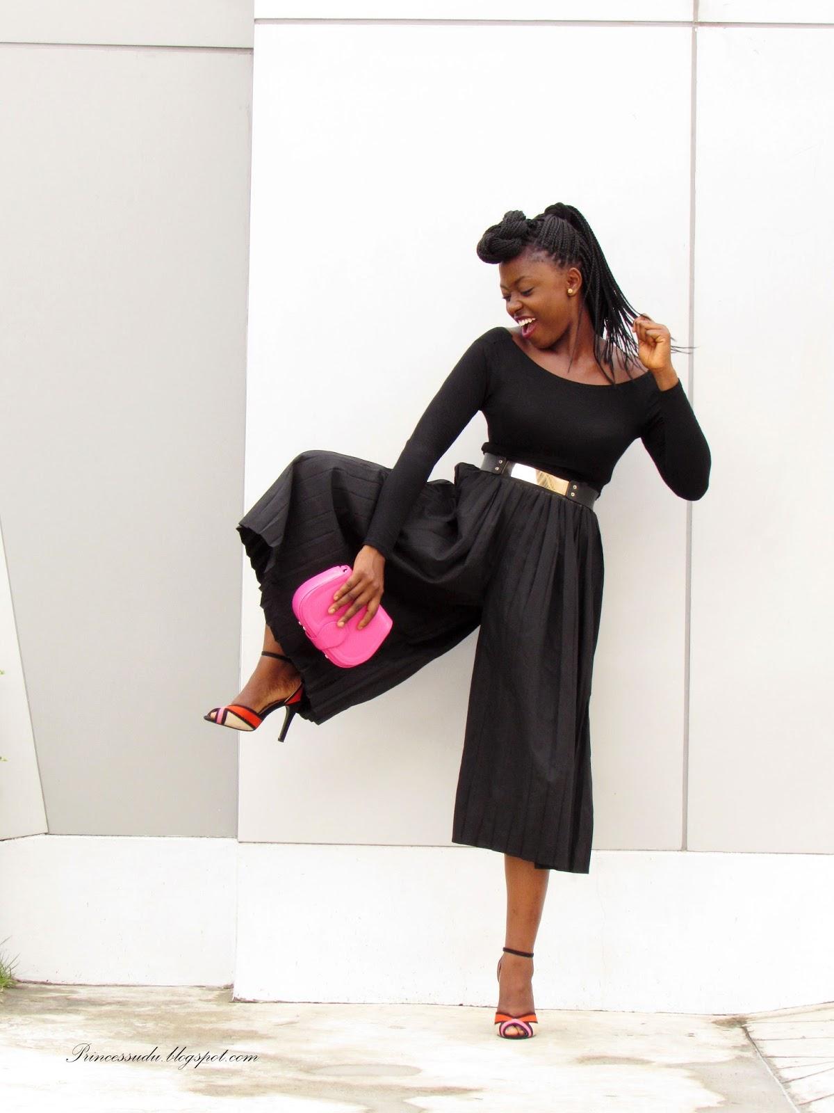 colour blocking, off shoulder tops, ankle strap sandals, culottes, pleats, basics