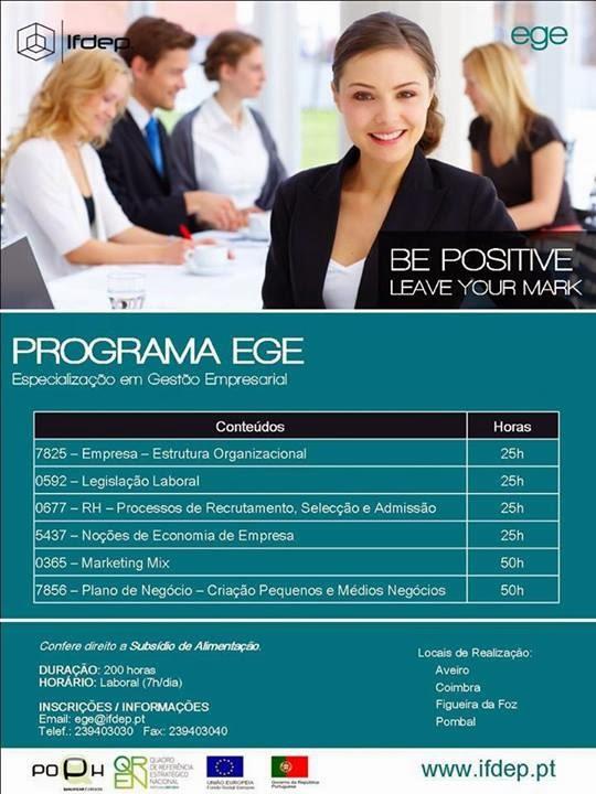 Curso de Especialização e Gestão Empresarial (Programa EGE) – Aveiro, Coimbra, Figueira da Foz e Pombal