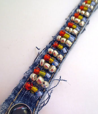 denim bracelet embellished with seed beads