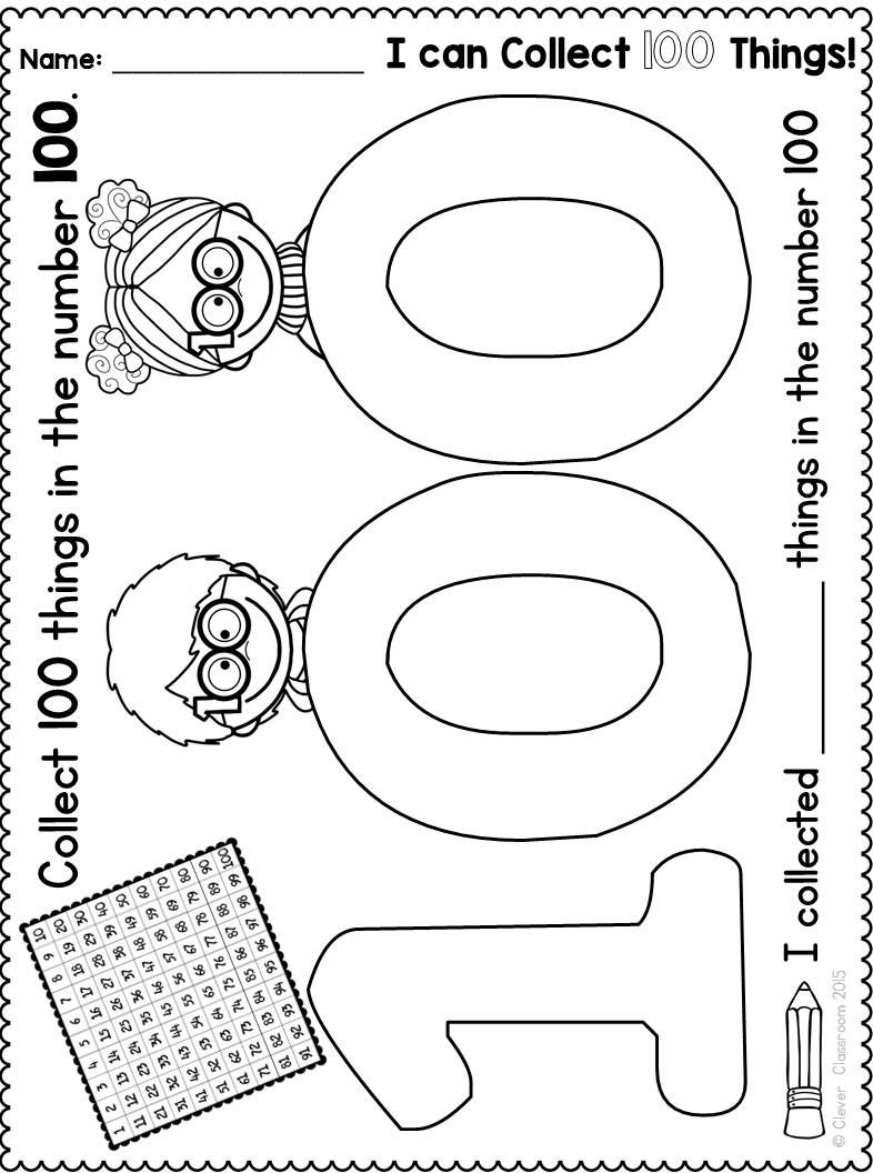 100th day printables and a free file