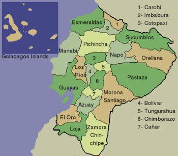 mapa político ecuador