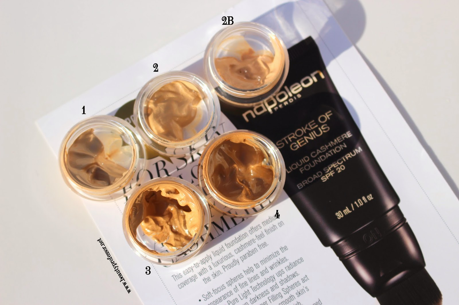 napoleon perdis stroke of genius foundation swatches