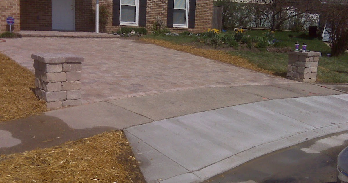 design inc columns and tumbled appian paver driveway in severn md