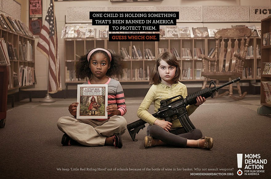 40 Of The Most Powerful Social Issue Ads That'll Make You Stop And Think - One Child Is Holding Something That's Been Banned In America To Protect Them. Guess Which One?
