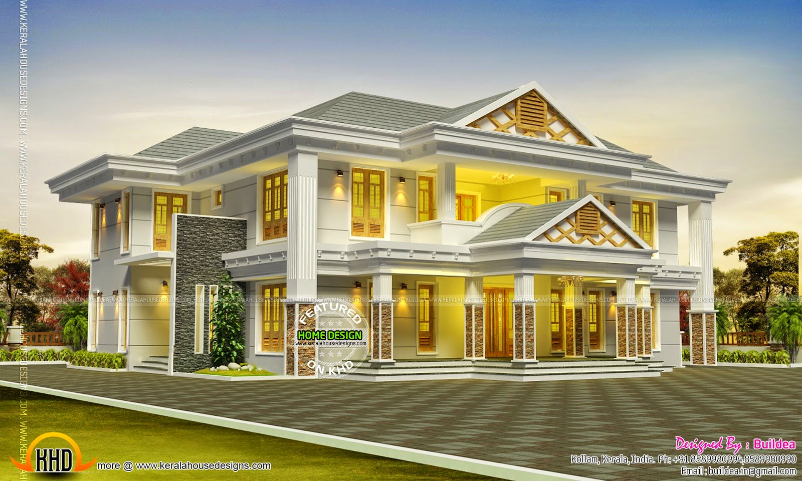 Luxurious sloping roof house kerala home design and for Sloped roof house plans in india