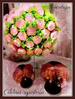 Ramillete de rosas hecho con kekitos por Célébrer