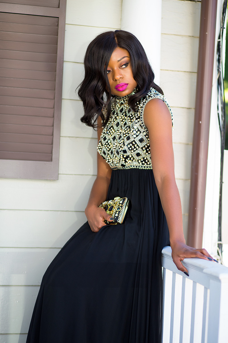 Holiday party maxi dress, asos clutch, www.jadore-fashion.com