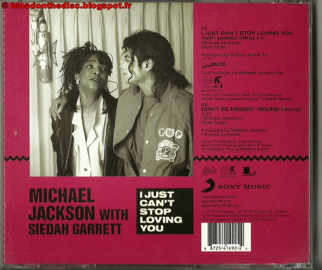 I Just Can't Stop Loving You CD Single Pochette Arrière