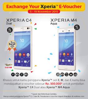 E-voucher Rp 500 Ribu Promo Untuk Pengguna Xperia seri E, M dan C