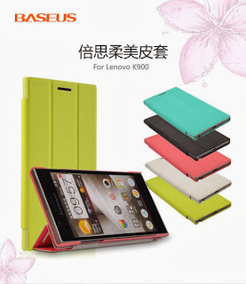 Baseus Tri-fold Ultra Thin Folio Leather Stand Case Cover for Lenovo K900 - Pink