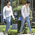Kendall Jenner n*ipple almost slip out as she steps out bra-less in a plunging neckline shirt (Photos)