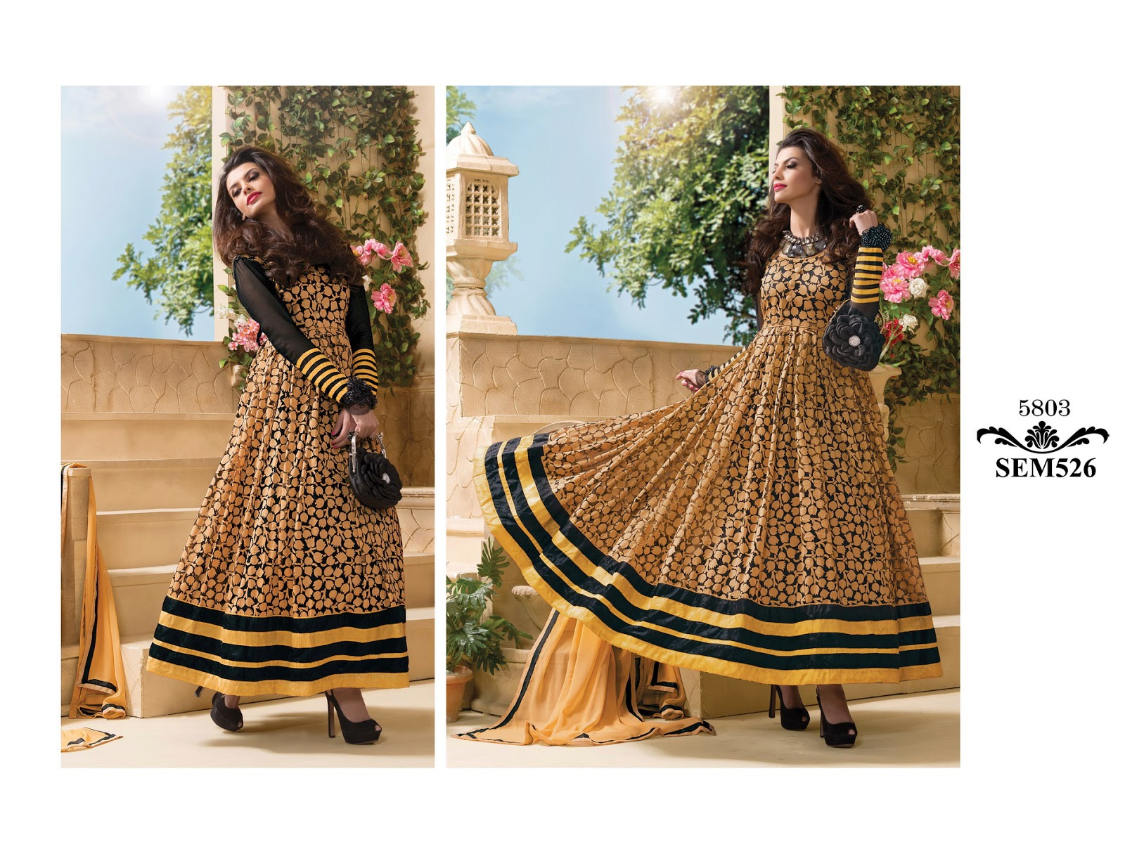 Latest gown style floor touch anarkali suit manufacturer for Floor touch gown
