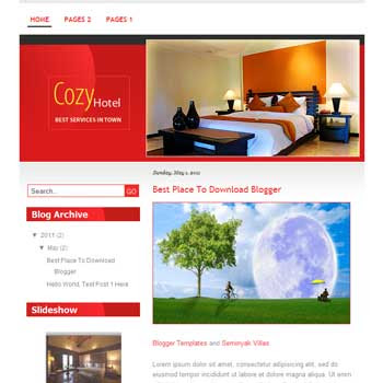 Cozy Hotel Blogger Template