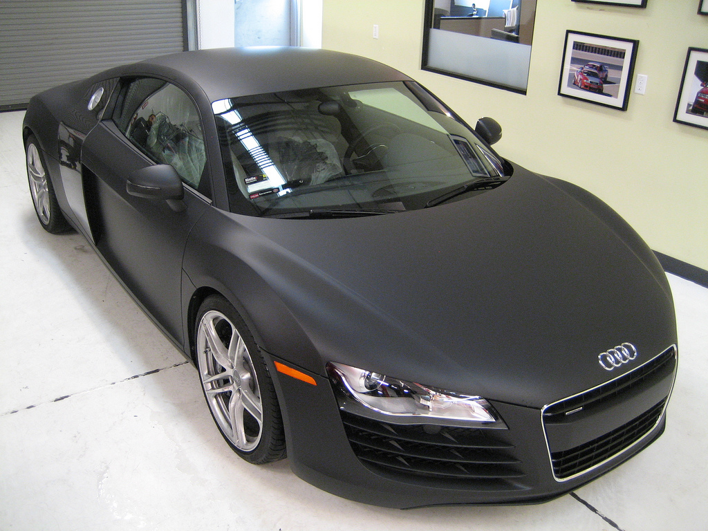 international fast cars audi r8 matte black. Black Bedroom Furniture Sets. Home Design Ideas