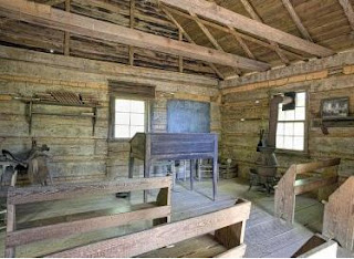 This is the inside of a classroom from the 1900s.