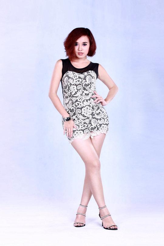 Model Ei Phyo Cherry in Orange Long Dress