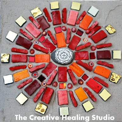 mosaic mandala red