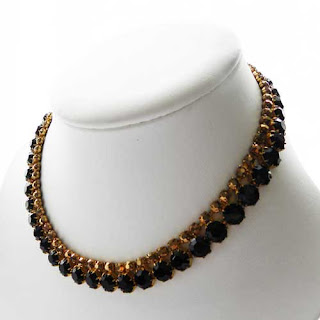 black diamante vintage costume necklace 1960s