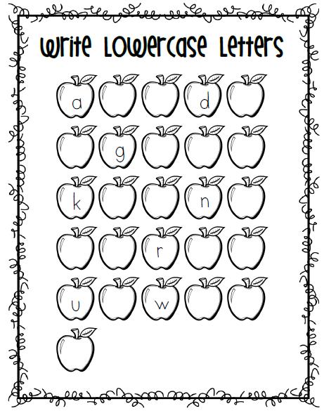 Apples on Lowercase Alphabet Writing Practice V