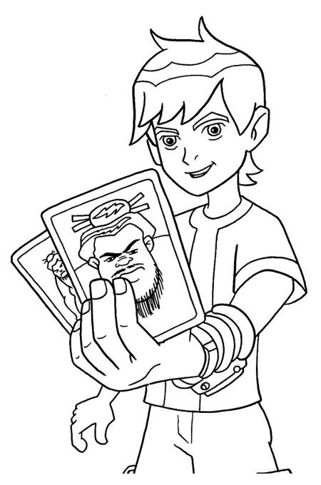 صورة بن تن يحمل بطاقتان لمجرمين للتلوين